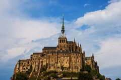 Mont Saint Michel Abbey. Mont Saint Michele iconic Abbey in Normandy, France stock photography