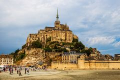 Mont Saint Michel Abbey. Mont Saint Michele iconic Abbey in Normandy, France royalty free stock image