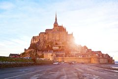Mont Saint-Michel abbey. Brittany, France at the sunset Royalty Free Stock Images