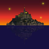 Mont Saint-Michel Abbey by night, France. Mont Saint-Michel Abbey and its reflection in the Couesnon river. Vector illustration EPS10 Royalty Free Stock Photos