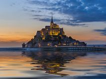 Mont Saint Michel Abbey - Normandy France. Travel and architecture background Stock Image