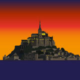 Mont Saint-Michel Abbey at sunset, France Stock Image