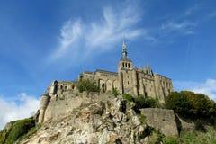 Mont Saint Michel abbotsklosterfästning i Frankrike Fotografering för Bildbyråer