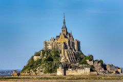 Basilique du Mont Saint Michel in France. Basilique du Mont Saint Michel island commune and monastery in Normandy, France royalty free stock image