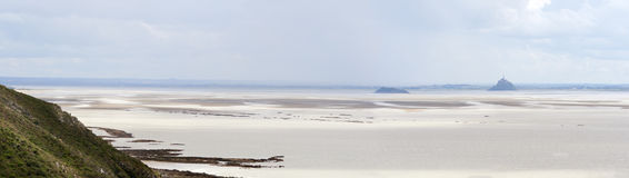 Mont Saint Michel Bay at low tide Royalty Free Stock Photos