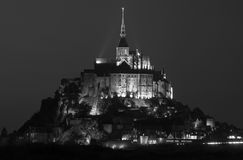 Mont Saint Michel in black and white Royalty Free Stock Image
