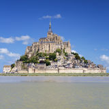 Mont-Saint-Michel with blue sky Royalty Free Stock Image