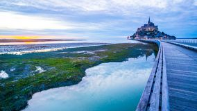 Mont-Saint-Michel from the bridge stock image