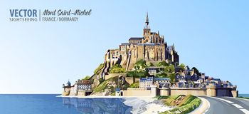 Mont Saint Michel cathedral on the island. Abbey. Normandy, Northern France, Europe. Landscape. Beautiful panoramic view. Vector i stock photography