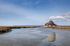 Mont saint Michel and channel in France Stock Image