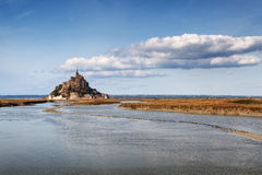 Mont saint Michel and channel in Normandy, France Royalty Free Stock Images