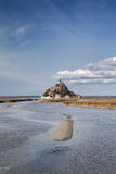 Mont saint Michel and channel in Normandy, France Stock Photo