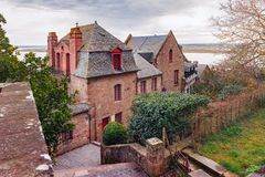 Mont Saint Michel in the cloudy morning, Normandy, France Royalty Free Stock Photos