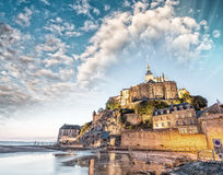Mont Saint Michel at dusk, France Royalty Free Stock Image