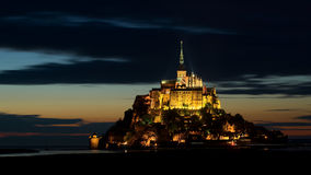 Mont Saint-Michel at dusk, Normandy, France Royalty Free Stock Photos