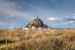 Mont saint Michel and field in Normandy, France Royalty Free Stock Photos