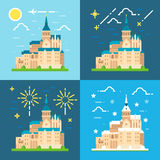 Mont Saint Michel flat design Royalty Free Stock Image