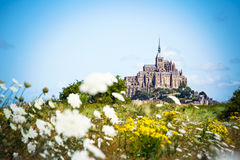 Mont Saint Michel between flowers Stock Photo
