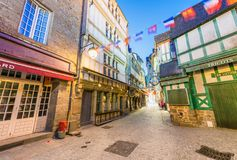 Free MONT SAINT MICHEL, FRANCE - JULY 2014: Tourists Visit City Medieval Center. This Is A Major Destination In France Stock Photos - 105473353