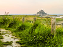 Mont Saint-Michel, France. Landscape of Brittany and Mont Saint-Michel as background, France royalty free stock images