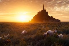Mont Saint-Michel in France Stock Photography