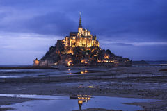 Mont Saint Michel in France at twilight Stock Photo