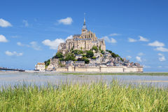 Mont-Saint-Michel and green grass Royalty Free Stock Image