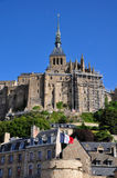 Mont Saint Michel i Frankrike Arkivbilder