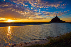 Mont Saint-Michel i Normandie, Frankrike Arkivfoto