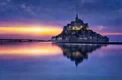 Mont Saint-Michel. Le Mont-Saint-Michel in the twilight Stock Photography