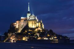 Mont Saint-michel long exposure night shot dark background contrast epic night time royalty free stock photos