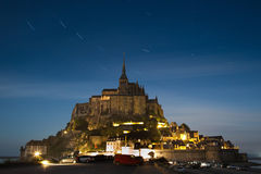 Mont Saint-Michel at midnight royalty free stock image