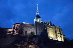 Mont saint michel spooky lighting dark tower france europe travel royalty free stock images