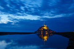 Mont Saint-Michel at night Royalty Free Stock Image