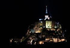 Mont Saint Michel at night Stock Images