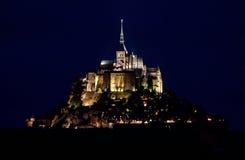 Mont-Saint-Michel at night. Famous Mont-Saint-Michel abbey at night stock photos