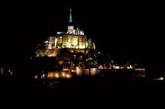 Mont Saint-Michel in the night. Illuminated royalty free stock images