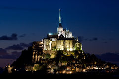 Mont-Saint-Michel at night Royalty Free Stock Photography