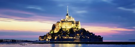 Mont-Saint-Michel by night Royalty Free Stock Photo