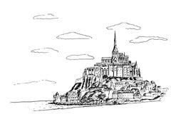Mont Saint Michel Normandie, Frankreich stock abbildung