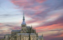 Mont Saint-Michel Normandie, Frankrike Arkivfoto