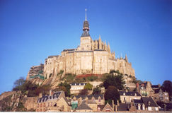 Mont Saint Michel in Normandy, France. And village scanned picture royalty free stock photo