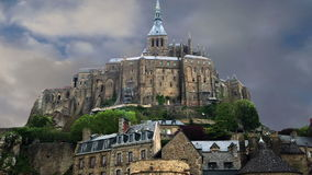 Mont Saint-Michel, Normandy, France--one of the most visited tourist sites in France. stock footage