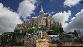 Mont Saint-Michel, Normandy, France--one of the most visited tourist sites in France. Designated as one of the first UNESCO World stock footage