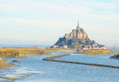 Mont Saint Michel over sea , France Royalty Free Stock Images
