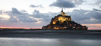 Mont-Saint-Michel, panoramic view Royalty Free Stock Images