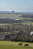 Mont Saint Michel. Seen from Avranches with a landscape Royalty Free Stock Photos