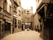 Mont Saint Michel in sephia royalty free stock images