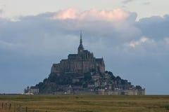 Mont-Saint-Michel at the sunrise. Famous Mont-Saint-Michel abbey at the sunrise stock images