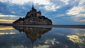 Mont Saint-Michel during sunset. Royalty Free Stock Photos